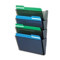 An essential tool for every office or cubicle, this attractive four-pocket file moves papers off the desk, creates extra space and organizes your office. Durable construction makes pockets long-lasting. Great for high-traffic areas and large workloads. Stackable units connect easily. Mounting hardware included. Hanging File Systems Type: Expandable Multiple Pockets; For File Size: Letter; Overall Height: N/A; Width: 13 in.