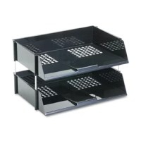 Tough, break resistant, extra-wide side load plastic trays handle oversized loads. Each tray holds 1,500 sheets of paper or a heavy catalog. Stacks with or without risers. Metal risers provide additional strength. Desk Tray Type: N/A; Global Product Type: Desk Trays; Holds Paper Size: N/A; Width: 16 1/2 in.PRODUCT DETAILS:Number of Tiers : 2Desk Tray Special