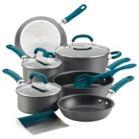The Rachael Ray Create Delicious 11-Piece Hard-Anodized Aluminum Nonstick Cookware Set brings high performance and cooking convenience to home chefs eager for kitchen versatility with long-lasting dependability. Constructed from hard-anodized aluminum, this collection of essential pots and pans is enhanced with PlatinumShield Technology nonstick to be 9X harder than titanium for effortless food release. Colorful, dual-riveted stainless steel and silicone handles provide comfort and control...