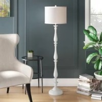 Material culture. The sleek white curves of this candlestick floor lamp are an urban spin on a traditional style. Its modern plastic base and chic white cotton drum shade are ideal for the contemporary interior in need of a young, modern glow.