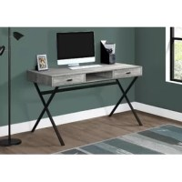 This sleek and contemporary work desk is the perfect combination of function, durability and design in a modern form. With clean lines, thick panel construction and tempered glass legs, this desk will add pizzazz to any home office. The desk top provides the ideal surface space for a lamp, picture frames, laptop or tablets to meet your working needs.