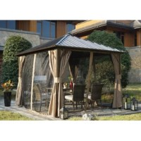 Introduce the glamour and comfort of a resort experience into your everyday life. The aluminum gazebo elevates your backyard, or other outdoor space, adding an element of comfort and sophistication that's certain to impress your guests. The classic design adapts well to many styles of patio furniture. This item is built for stability, with permanent aluminum, light non-rusting material that ensures your investment lasts for a lifetime. The patio gazebo provides a shaded space for relaxing by...
