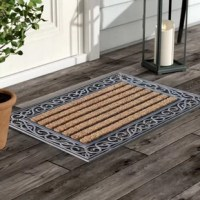 More than a decorative enhancement this rubber and coir molded doormat is made with a heavy rubber backing that anchors it in place while you brush dirt and debris from shoes and boots. The tufted coco-fiber facilitates scrubbing soles clean.