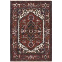 Hand-knotted rug with antique Persian Heriz Serapi designs.