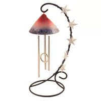 This wind chime celebrates the past, present, and future. Designed and assembled in the USA, its red, white and blue color represent the American flag. Commemorate patriotism in all forms with the American chime.