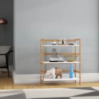 This is an Arnett Etagere Bookcase, great for displaying books or other items. With large, strong MDF shelves and rear bamboo gallery rails to keep books in place. The shelving unit also has softly rounded waterfall front edges. Each shelf comes with 4 pins for use in stacking one shelf on top of another shelf. Create your own design by stacking the bookshelves beside and on top of each other.