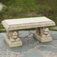 This garden bench has beautiful details in the outline of the bench, and the laying lion legs. This garden bench is suitable to leave outside year round.