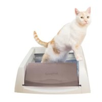 The PetSafe® Scoopfree Taupe Original Self-Cleaning Standard Litter Box is an automatic litter box that stays fresh and clean without the hassle of scooping. Simply plug in the box and watch it work. The automatic rake system sweeps waste into the covered compartment 5, 10 or 20 minutes after your cat uses the litter box. The special crystal cat litter, packed in a convenient disposable litter tray, is 5 times more effective at reducing odor than clay or clumping cat litters. With the...