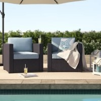 Create a classic conversational ensemble on the back patio with this two-piece outdoor wicker chair set. Founded on a durable steel frame, and wrapped in UV-resistant resin wicker in a deep brown finish, each matching armchair strikes a contemporary barrel chair silhouette with tight, clean-lined arms, a straight back, and four tapered block feet. Available in a selection of curated colors, matching cushions made from solution-dyed polyester feature high-grade cushion cores and piped corners...