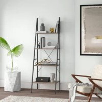 The on-trend style should extend to all the items in your home – and that includes your book collection! A ladder shelf like this is designed for a clean, open silhouette, enabling you to show off not only your titles but also decor objects and knickknacks. This piece features a powder-coated steel frame and four laminated wood shelves of decreasing depth, delivering a budget-friendly industrial-inspired look. This piece is sized to fit easily into taller, narrower spaces.