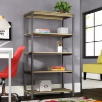Add more storage and an industrial touch to your home office or living room with the Vanessa Etagere Bookcase. The metal frame gives this Bookcase a durable build that will last for years to come. Organize books and display collectibles on the 5 open shelves. Open concept gives you easy access to your belongings and fits perfectly in both small and medium sized rooms. A wall anchor kit is included with the Bookcase to secure to the wall and keep your family safe. Coordinate your space with the...
