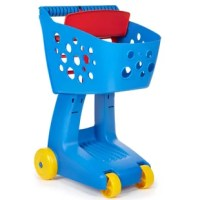 The product is a modern toy shopping cart that lets kids mimic trips to the store just like mom and dad. This cart has a seat with leg holes for a doll or stuffed toy so kids can take their favorite toy with them to the grocery store.