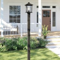 Bring a boost of brightness and curb appeal to any outdoor space with this post light, rated for use in wet locations. Marrying modern and industrial elements, this metal fixture features a slender cylindrical post base with a boxy rectangular head up top in a versatile black finish for a minimalist feel. Clear beveled glass panels make up the shade, providing a peek at a single 100W medium-base bulb (not included) ensconced within. The manufacturer backs this product with a 5-year warranty.