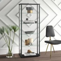 Celebrate your collections in this clean, contemporary curio cabinet! Crafted of solid wood in a clean black finish, this cabinet's frame strikes a streamlined rectangular silhouette. Encased in transparent glass sides, back, and front doors with magnetic catches, five shelves provide perfect platforms for displaying framed photos, collected curios, and family heirlooms.