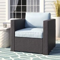 Entertaining outdoors is made effortless with this Lawson Arm Chair with Cushions. This chair is stylish and durable thanks to the UV resistant resin wicker, woven over a tough steel frame. The high-grade cushion core adds comfort, while the moisture resistant cover guarantees year-round protection. Pair with any number of our sectional options for a customized layout perfect for your outdoor space.