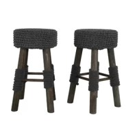 Cozy contemporary style with a rustic twist comes to life with these stools. The weathered wooden frame is accentuated with a thick gray cotton knitted seat cover, and extra soft gray cotton leg wraps. The knitted cover is atop a comfortably firm foam cushion and is removable for cleaning. These stools also feature a four-sided footrest to ensure maximum comfort while sitting. This sturdy counter stool is a beautiful and unique addition to any kitchen or dining room.