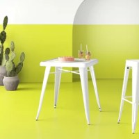 Iconic mid-century design is yours in a cinch with this modern dining table! Crafted of metal in a fashionable painted finish, the square table features rounded corners and thick edges, while its surface showcases an engraved designer top. Four bracket legs complete with architectural stretchers provide structure and support, while round rubber foot caps help save your surfaces from scuffs and scratches. Measuring 29