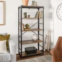 Too many books and not enough space to store them? Every bookworm's dilemma. Don't worry, this bookcase is here to help. Pairing an openwork, black-finished metal frame with manufactured wood shelves, it offers an industrial look that's right at home in both classic and contemporary aesthetics. Each of the four shelves can support up to 20 lbs. after assembly, this vertical piece is sure to make a statement.