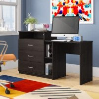 "Add a multi-functional piece to your dorm room with this computer desk. This item features a TV stand, 3 drawer dresser, a small bookcase, and a computer desk all in one. The TV stand can accommodate a TV up to a 39"" or 40 lbs. and offers an open cubby below with wire cutout in the back for your cable box or gaming system. Each drawer has durable metal slides and is finished inside with a linen look paper so clothes don't snag on raw edges. Finish your homework and papers on the desk on the..."