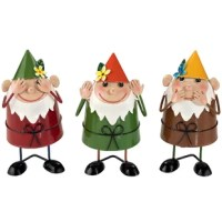 Design Toscano cute trio of bobblehead garden gnomes knows how to shake their money makers. Crafted in metal by artist Alison hollow, from their perfectly positioned