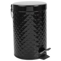 Give your trash a sophisticated home with this textured waste bin. This abstract styled waste receptacle combines ornate geometric detailing to lavish your bath from an ordinary space to a luxurious retreat. Constructed from robust steel, it's built to withstand the wear and tear of everyday use. The step-operated lid allows you to toss the trash in the bin and keep your hands free of germs and the air wafting with musky odors.