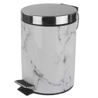 A durable bathroom accessory that doubles as an artistic display piece, this luxury waste bin is designed with rich, natural veining to realistically evoke the graceful elegance of authentic marble. A step activated lid adds convenience, by keep garbage and its unsightly odors solely within the confines of the interior plastic bucket. Easily remove the bucket by lifting the metal handle to clear the contents then slide it back inside when finished. The non-skid base also prevents the bin from...