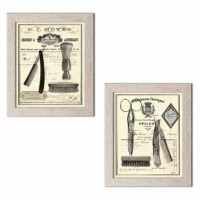 This 'Classic Vintage Barber Shop Salon' Framed Graphic Art Print Set make a great addition to any bathroom. Printed as digital prints and framed using high-quality molding. Ready to hang!