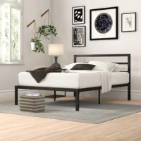 Your bed is the central part of your restful retreat, and with a piece like this, you can drift off to dreamland in an understated modern style. Crafted from steel, this budget-friendly frame features a ladder headboard and 12'' of clearance from the floor, making it a great option for under-bed storage. An included slat kit means there's no need for you to add a box spring: just put your mattress directly on the frame!
