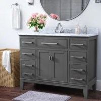 This collection is an elegant transitional style bathroom vanity. The tapered legs and moldings add a touch of elegance to this piece of furniture.
