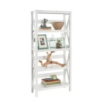 Offering five tiers of shelving, the X-Frame Etagere Bookcase from ClosetMaid is perfect for displaying books, media, plants, magazines, and decorative pieces in living spaces, home offices, bedrooms, and more. And, with its clean lines, decorative trim, and sturdy X-frame, this bookcase features a trendy combination of modern and traditional styling that's sure to be a perfect match for your home decor.