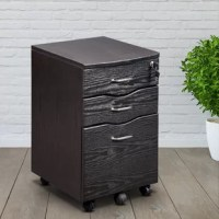 This cabinet is stylish and keeps your accessories and documents organized. It features a top drawer with a locking mechanism that locks both the top drawer and lower file cabinet.
