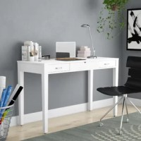 With its simple design and a power outlet USB port built right in, this desk is a study in form and function. The two full extension drawers provide space for writing materials or beauty essentials and the pop-up mirror reveals more compartmentalized storage space. Metal drawer slides, chrome hardware, and a clean, white finish are the details that make this vanity desk the perfect complement to your home.