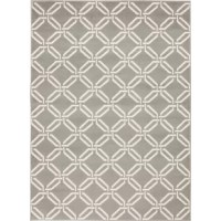 Set a tasteful, transitional foundation for your stylish space with this gray and ivory area rug, showcasing a geometric trellis motif. Made in Turkey, this area rug is power loomed from stain- and fade-resistant polypropylene  – perfect for rolling out in high-traffic living rooms and dining spaces prone to occasional spills and stains alike. Complete with a durable latex backing, this rug performs best when paired with a rug pad to prevent shifting and sliding.