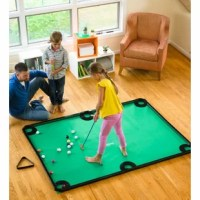 Get the whole gang in on the fun of their golf pool indoor family game an exciting game that combines the challenge of golf with the game of pool. Perfect for beginners and experts alike! Just roll out the green mat (similar to that of the fabric found on a pool table top) in the den, finished basement, or any level surface indoors, attach the rails along the edges and take turns putting the balls into the pockets. It's easy! It's a great way to help kids build hand-eye coordination, strategic...
