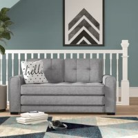 Give your teen the freedom to host friends in their own space with this versatile loveseat, featuring a fold-out design that allows it to double as a twin-sized bed that sits low to the ground. Founded atop black-finished block legs, this piece is crafted with a solid and manufactured wood frame, foam fill, and solid-hued fabric upholstery for an understated and inviting look. Track arms and square tufted details help to highlight this design's clean-lined silhouette, giving it a contemporary...