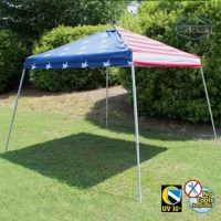 Need an economical instant pop up tent? This steel slant leg pop up offers a sturdy slant leg design and is easy to set up and take down. Comes with carrying bag, nail stakes and guy rope.