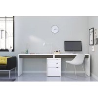 Young and fresh, this desk has everything to please; its modern white finish with chic natural maple accents and its mix-and-match design allow you to create your own trendy home office.