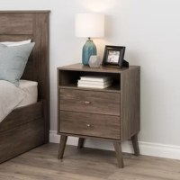 The nightstand is a modern take on a retro look, with a sleek mid-century modern design that adds a touch of vintage styling to your bedroom. Two full-sized drawers provide ample room for all your bedside necessities, and the open shelf is perfect for anything you need easy access to. The tapered solid wood legs and inset drawers deliver a clean and modern look to your bedroom. Brushed brass finished knobs add to the retro-chic design of this functional and fashionable nightstand.
