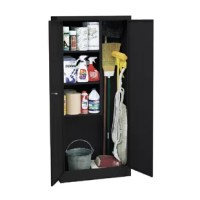 Three storage shelf spaces. Organize building maintenance and cleaning supplies. Storage for brooms, mops, vacuum cleaners, etx. Locking handle for increased safety and security. Powder coat finish.