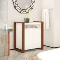 This bathroom storage cabinet offers a practical organization solution with a fashionable appearance that reflects your sense of style. Push release doors conceal a compartment with one adjustable shelf that supports up to 25 pounds for flexible storage of towels, cleaning products and more. Open cubby space is perfect for smaller toiletries and miscellaneous items while the top surface provides an ideal place to brighten up the bathroom with your favorite decorations. This floor cabinet's...