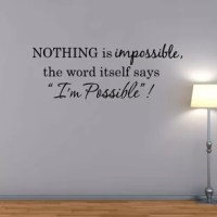 This Nothing is Impossible Audrey Hepburn Quote Wall Decal is produced with a nice quality vinyl in an indoor matte finish which gives the appearance of a professionally hand painted stencil look without the mess and hassle. The product can be applied to just about any hard, smooth surface. Includes easy to follow step by step application instructions. Vinyl wall quotes are the latest trend in home and office decor and are a creative way to add a touch of class to any room in your home or...