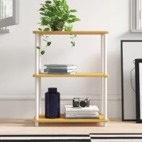 Bring a streamlined style to your space with this contemporary etagere bookcase. Crafted of manufactured wood with laminate veneers, this bookcase strikes a three-tiered rectangular silhouette on four PVC posts. Each shelf provides a perfect platform for displaying everything from rows of your favorite reads, to framed photos, to collected curios. This etagere bookcase has a 25-lbs. weight capacity per shelf.