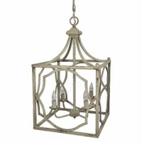 Pendant light made of metal with a light gray aged patina. Four 40W max candelabra bulbs. Chain and canopy totals 36