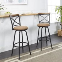 This Adjustable Height Swivel Bar Stool instantly pulls your kitchen, rec room or home entertainment space together with their timeless, handsome design. Crafted of metal, solid wood and particle board these stools offer more than just a sturdy seat.  Boasting a standard size back, footrest and round foam-cushioned swivel seat these bar stools were designed with comfort in mind. Adjustable legs increase the longevity of use by allowing you to customize these pub height stools to fit your space....