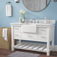 This vanity set has a classic farmhouse apron sink with a deep basin made of high-quality ceramic. With high-end furniture-grade construction. Made of 100% solid wood and plywood only.