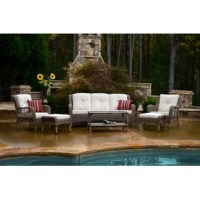 This sofa seating collection transform a typical backyard space into a relaxing and inviting oasis with these unique pieces. This modern, yet cozy set is constructed from powder-coated steel frames covered in all-weather wicker in a beautiful sandstone color adding the perfect glow to your home.