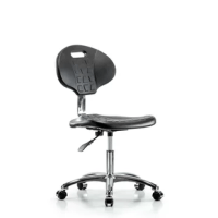 These Clean Room Basic industrial polyurethane chairs adjust to fit most body types and workstations. Optional 2-way adjustable arm rests support a variety of arm placements for proper ergonomics. These polyurethane chairs are easily cleaned, making them ideal for almost any environment. Choose from chrome hooded rolling, non-marring casters (suitable for both hard and carpeted floors) non-marring bell glides (suitable for both hard and carpeted floors) on a polished cast aluminum base.