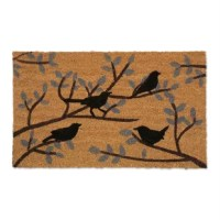 The bird lovers in your life will feel welcomed with this peaceful doormat which features a serene image of a flock of birds resting on leafy branches. Doormat is crafted of coir, a fiber from the husk of a coconut, coir is one of the finest natural materials for brushing dirt, slush and mud off shoes and boots. The durable vinyl backing provides non-slip stability. The deep pile coco mat construction traps and holds dirt particles below the surface.