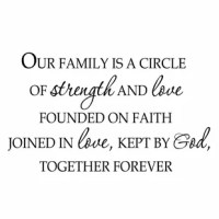 This Our Family is a Circle of Strength and Love Founded on Faith Joined By Love Family Wall Decal is produced with a nice quality vinyl in an indoor matte finish which gives the appearance of a professional hand-painted stencil look without the mess and hassle. Includes easy to follow step by step application instructions. Vinyl wall quotes are the latest trend in home and office decor and are a creative way to add a touch of class to any room in your home or office.