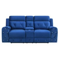 Ultra-contemporary visual appeal and comfortable design happily meet in this stunning power reclining loveseat. This roomy yet compact loveseat is offered in rich blue velvet material which makes this loveseat an easy fit for any room décor settings and style choices. Additional features include plushly padded seats, center storage console, jewel embellished the tufted design, along with recessed arm styles that contribute to the overall relaxing feel and luxurious look of this loveseat....